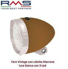 Faro/Fanale Anteriore Vintage calotta Marrone 3 Led per Bici 26-28 Single Speed