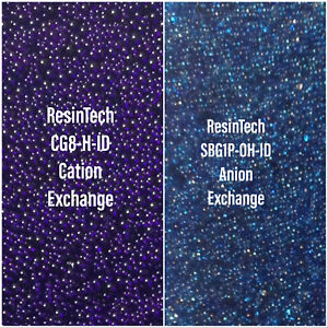 Mixed Bed DI Resin, 35:65 v/v ResinTech CG-8-H-ID/SBG1P-OH-ID, Color Changing