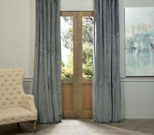 "Beautiful Blue Grey Cotton Velvet Single Panel Eyelet Door Curtain - 46"" x 90"""