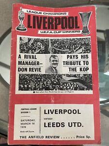 Vintage Liverpool fc football programmes