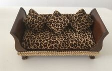 New Dressed Luxury Day Bed Dolls House 12th Scale Brown Gold Animal Print Fabric