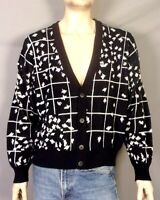 vtg 80s Barnaby ABSTRACT Ugly Cosby Cardigan Sweater Leaves? Over Grid sz XL