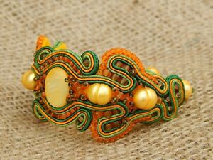 Soutache Bracelet with Mother of Pearl