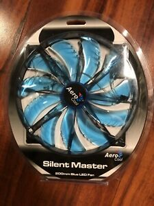 LED COOLING FAN Silent Master High Airflow Low Noise Blue LED 200mm AEROCOOL