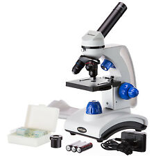 AmScope 40X-1000X Dual Light Glass Lens Metal Frame Student Microscope + Slides