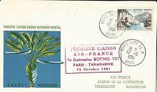 ENVELOPPE PREMIERE LIAISON AIR-FRANCE - PARIS - TANANARIVE - BOEING 707 - 1961