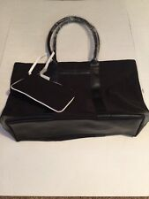 Calvin Klein Black Tote With removable pouch. Canvas & Leather NEW