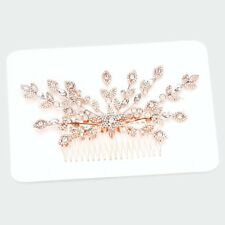 HAIR COMB  ROSE GOLD Crystal Rhinestone Pave Flower Leaf Hair Comb