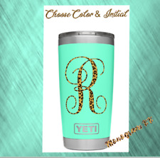 """Cups Monogram Vinyl Decal For Your Tumblers 2/"""" 1  Initial Amastery Script"""