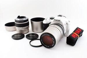 PENTAX K-x 12.4MP Digital SLR Camera White Color w/Two Lens Set Excellent++ F/S