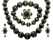 Victorian Banded Agate and 18k Yellow Gold 15k Yellow Gold Jewellery Suite