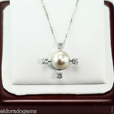 PENDANT STYLE NECKLACE 10 mm PEARL & 0.60 CT. ROUND DIAMOND 14K WHITE GOLD 16""