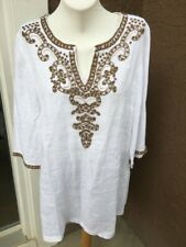 Chico's White Gold Beads Embellished Linen Tunic Top Sz 2 L Large 12 14