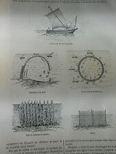 La Pêche dans le Golfe de Gabès Article de presse Gravure 1889
