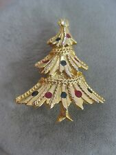 Estate Costume Christmas Tree Green Red Rhinestone Pin Gold Tone