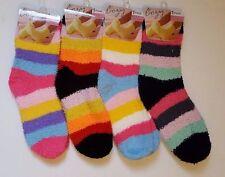6X Pair Women Ladies Soft Fluffy Lounge Stripe Warm Cozy Bed Socks Shoe Size 4-7