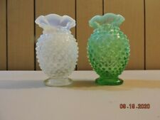 2 Fenton opalescent hobnail small crimp top vases in mint condition