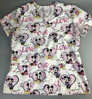 Mickey Mouse Women Medium Scrub Top Minnie Mouse Disney Love Hearts V-neck Gift