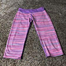 Under Armour YLG Girls fitted leggings striped heatgear W24xL17xR6
