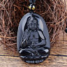 Natural  Obsidian Carved Buddha Anhänger Halskette unisex Lucky Amulet mode