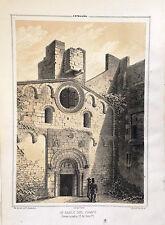 CATALUÑA, BARCELONA,SAN PABLO DEL CAMPO.Lit. original de Parcerisa 1839-1865