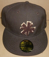 Retro brown Almost Song & Mullen skateboard New Era fitted hat size 73/8