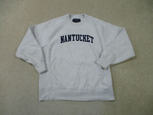 VINTAGE Champion Sweater Adult Medium Gray Nantucket Reverse Weave Mens 90s *