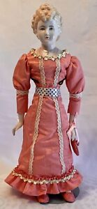 """Vtg BELLA Artist Doll Porcelain 17"""" China Head Woman Doll Hand Made & Painted"""