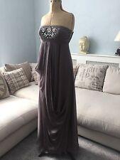 BNWT Monsoon Bandeau Grey Silk Drape Long Grecian Maxi Dress UK 8  £160 Stunning