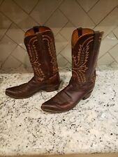 LUCCHESE Cowboy Boots Mens 9 D Brown Leather Classic Western Made In USA