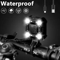 USB LED vélo phare vélo tête lumière vélo lampe stroboscopique + klaxon