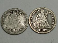 2 Seated LIBERTY Dimes 1853 & 1887.  #25