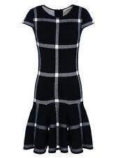 Alice + Olivia Selma Plaid Sweater Dress Knit  Drop Waist Black Size XS NWOT