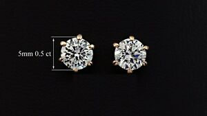 Rose Gold Plated Prongs 0.5ct Cubic Zircon Stud Earrings | Free Shipping