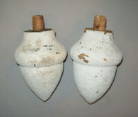Antique Vtg 19th C 1800s Folk Art Carved Wooden Acorn Finial Pair Early Paint