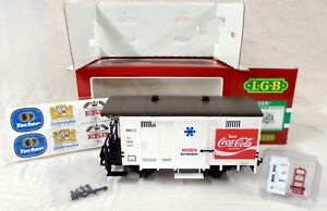 LGB 4031 COCA COLA REEFER CAR  WITH ERTL DIECAST COKE VENDING MACHINE AND DOLLY