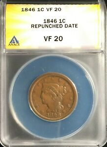 1846 Large Cent  VF-20  ANACS Small Date = Strong Repunched Date  FREE SHIPPING!