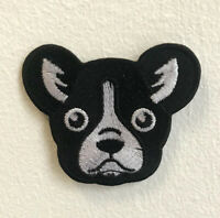Cute Dog face Black and White Art Badge Iron on Sew on Embroidered Patch
