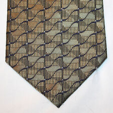 NEW Valerio Garati Silk Neck Tie Metallic Gold w Black & Dark Blue Pattern 1283