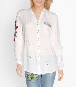 Desigual Embroidered White Shirt Long Sleeves size S, UK/AUS10  NWT (T60)