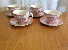 Cup and Saucers x4 Churchill Made in England The Georgian Collection Pink  ++5