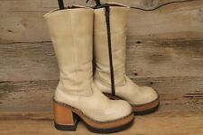 LONDON UNDERGROUND WOMENS BEIGE LEATHER MID CALF PLATFORM CHUNKY HEEL BOOTS SZ 6
