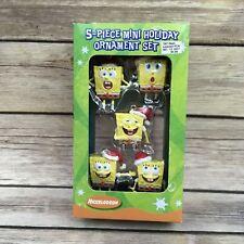 2004 AGC Spongebob Squarepants Mini Holiday Ornament Set Many Faces 5 Piece
