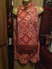 STUNNING DRESS SIZE 10, ETHNIC STYLE PRINT, SHIFT BOHO LOOK, & FREE SHOULDER BAG