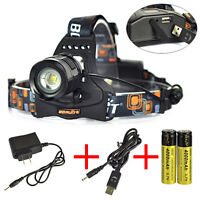 10000LM XM-L2 LED Headlamp USB Flashlight Zoom Head Light Torch 18650 Power Bank