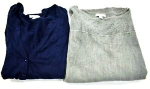 Lot Of 2 New York & Company Womens Large Tops Open Front Cardigan & Sweater