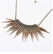 Charm Vintage Long Rivets Tassels Pendants Bib Statement Chunky Choker Necklace