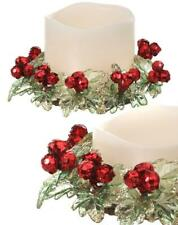"Green and Red Mini Holly Berry Gen Pillar Candle Ring 5""Wide Christmas Set of 2"