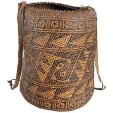 Vintage Borneo Woven Rattan Ajat Shoulder Basket