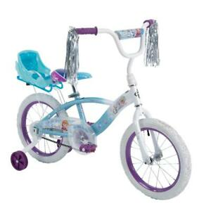 16 EZ Build Girls Bike With Sleigh Doll Carrier White/Blue Steel Multicolor New